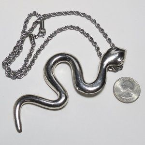 Jewelry - Huge Silver Snake on Steel Chain Necklace